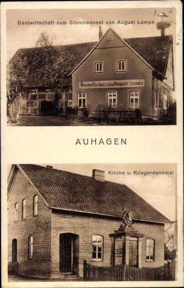 Ak Auhagen Kreis Schaumburg, Gastwirtschaft zum Storchennest, Kirche, Kriegerdenkmal