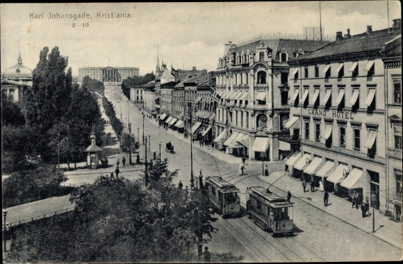 Ak Christiania Oslo Norwegen, Karl Johansgade, Straßenbahnen, Grand Hotel