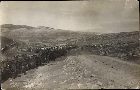 Foto Ak Rachaya Libanon, Militärkonvoi, Panorama
