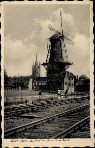 Ak Delft Südholland Niederlande, Molen de Roos, Toren Oude Kerk