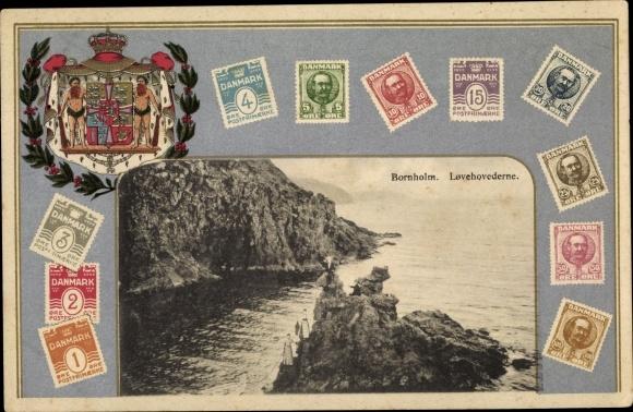 Wappen Briefmarken Passepartout Ak  Bornholm Dänemark, Lovehovederne