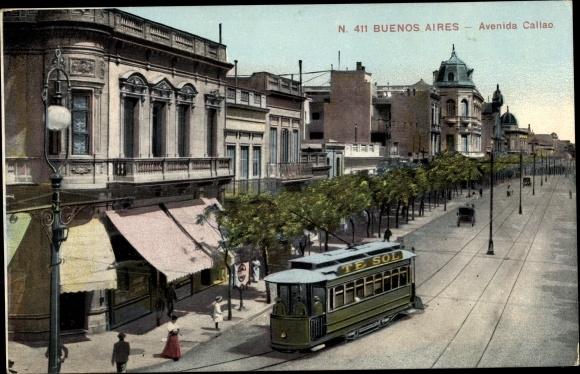 Ak Buenos Aires Argentinien, Avenida Callao, Straßenbahn