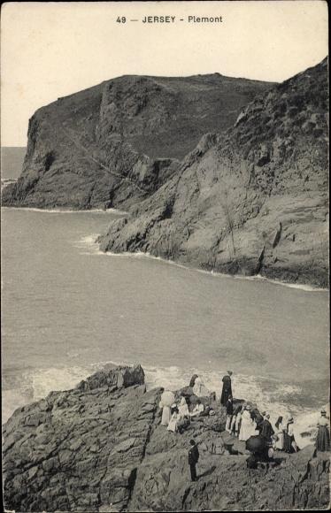 Ak Plemont Jersey Kanalinseln, Meer, Felsen, Personen