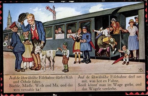 Künstler Ak Boettcher, Hans, Auf de schwäbische Eisebahne, Ziegen, Reisende