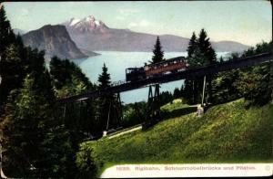 Ak Kanton Luzern, Rigibahn, Schnurtobelbrücke und Pilatus, Zahnradbahn