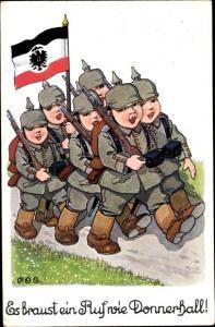 Künstler Ak Engelhard, P.O.E., Es braust ein Ruf wie Donnerhall, Soldaten