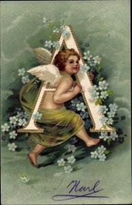 Präge Buchstaben Litho Buchstabe A, Engel, Vergissmeinnicht