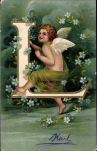 Präge Buchstaben Litho Buchstabe L, Engel, Vergissmeinnicht