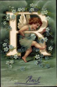 Präge Buchstaben Litho Buchstabe R, Engel, Vergissmeinnicht