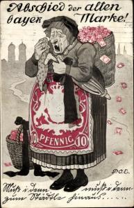 Briefmarken Künstler Ak Engelhard, P.O.E., Abschied der alten bayer. Marke