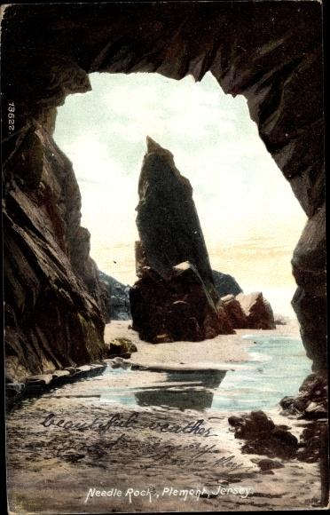 Ak Plemont Jersey Kanalinseln, Needle Rock, Felsen, Strandpartie