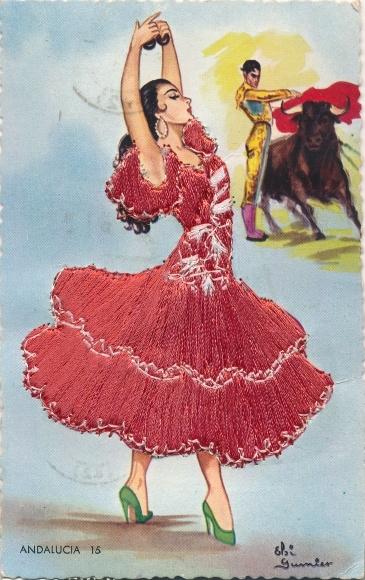 Stoff Ak Andalucia Andalusien, Tänzerin im bestickten Kleid, Stierkampf