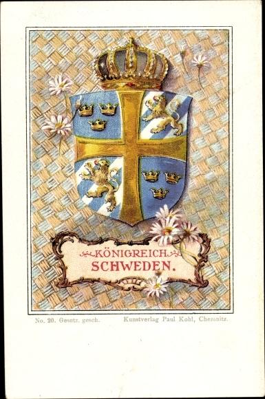 Künstler Wappen Ak Königreich Schweden