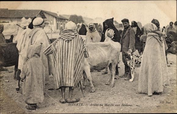 Ak Bizerte Tunesien, Arabes du Marché aux Bestiaux 0