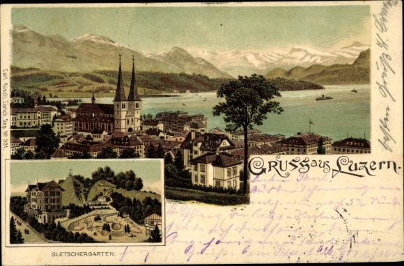 Litho Luzern Stadt Schweiz, Totalansicht, Gletschergarten