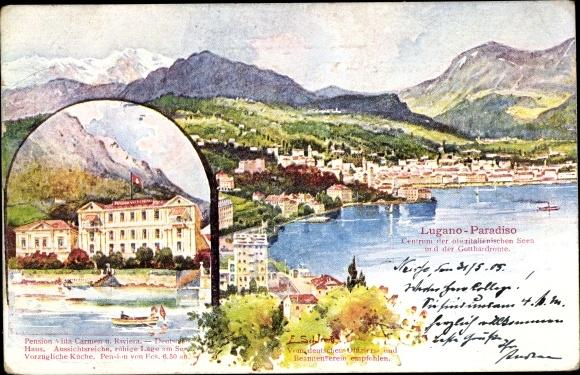 Künstler Ak Paradiso Lugano Kt. Tessin Schweiz, Pension Villa Carmen u. Riviera