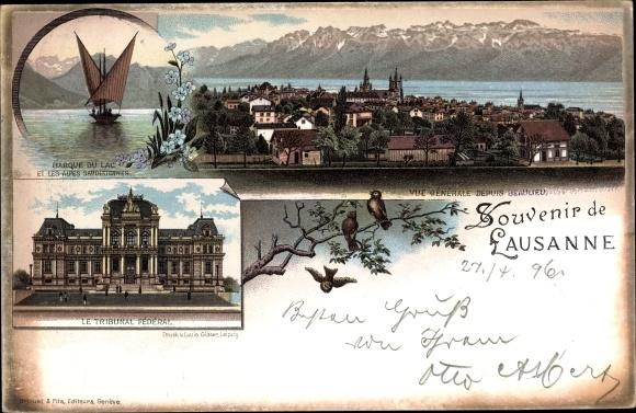 Litho Lausanne Kt. Waadt Schweiz, Barque du Lac, Tribunal Fédéral 0
