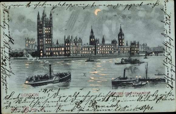 Haltgegendaslicht Mondschein Ak London City, Houses of Parliament