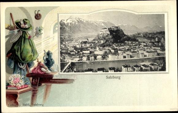 Präge Passepartout Ak Salzburg in Österreich, Hohensalzburg