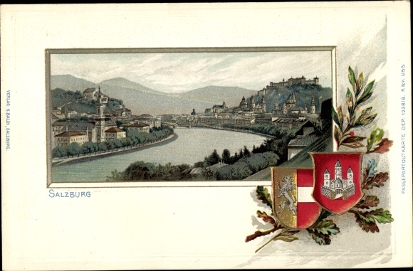 Präge Wappen Passepartout Litho Salzburg in Österreich, Totalansicht