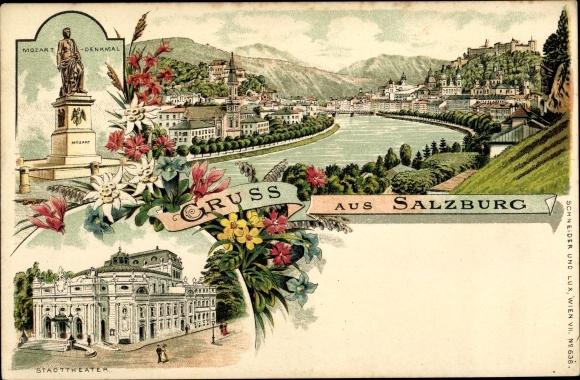 Litho Salzburg in Österreich, Mozart Denkmal, Stadttheater, Totalansicht