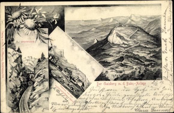 Passepartout Ak Salzburg, Gaisberg mit der Bahnanlage, Plateau auf der Gaisbergspitze