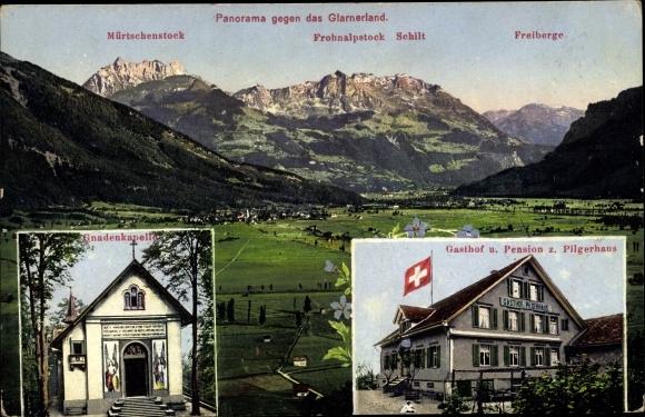 Ak Benken Kt. St. Gallen Schweiz, Panorama gegen das Glarner Land, Gnadenkapelle, Gasthof