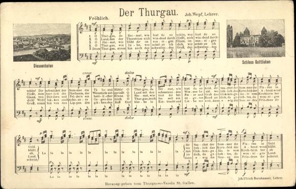 Lied Ak Der Thurgau, Komponist Joh. Wepf., Diessenhofen, Schloss Gottlieben