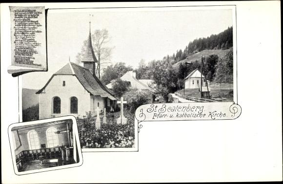 Ak St. Beatenberg Kt. Bern Schweiz, Pfarr- und katholische Kirche 0