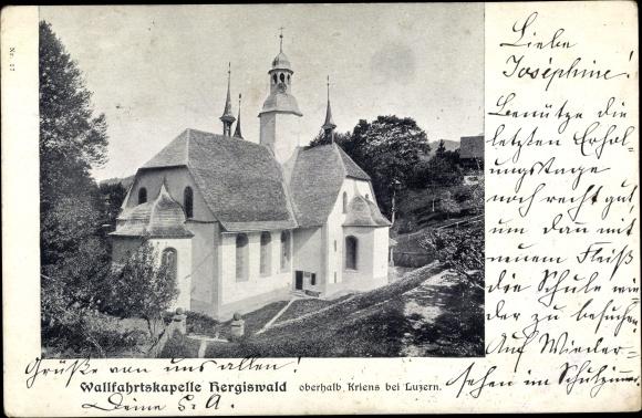 Ak Kriens Kt. Luzern Schweiz, Wallfahrtskapelle Hergiswald