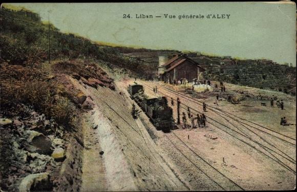 Ak Aley Libanon, Vue générale, Bahnhof, Dampflok