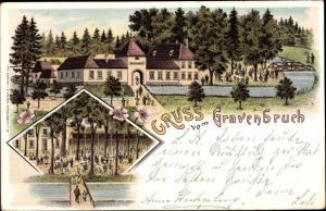 Litho Gravenbruch Neu Isenburg im Kreis Offenbach Hessen, Gartenterrasse