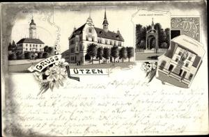 Litho Lützen im Burgenlandkreis, Altes Schloss, Rathaus, Gustav Adolf Denkmal, Siegesdenkmal