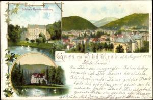 Litho Friedrichroda im Thüringer Wald, Schloss Reinhardsbrunn, Hotel Reinhardsbrunn, Panorama