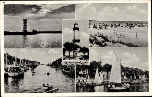 Ak Warnemünde Rostock in Mecklenburg, Stadtansichten, Leuchturm, Segelboote