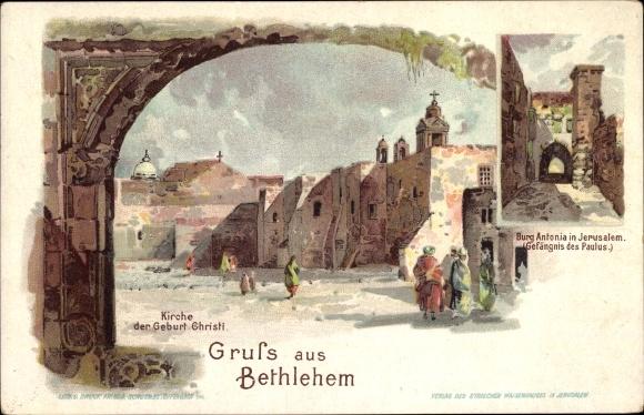 Litho Betlehem Palästina, Kirche der Geburt Christi, Burg Antonia, Gefängnis des Paulus