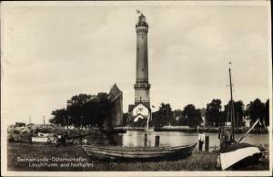 Ak Warszów Osternothafen Świnoujście Swinemünde Pommern, Leuchtturm und Nothafen
