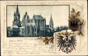 Präge Wappen Passepartout Ak Aachen in Nordrhein Westfalen, Der Dom