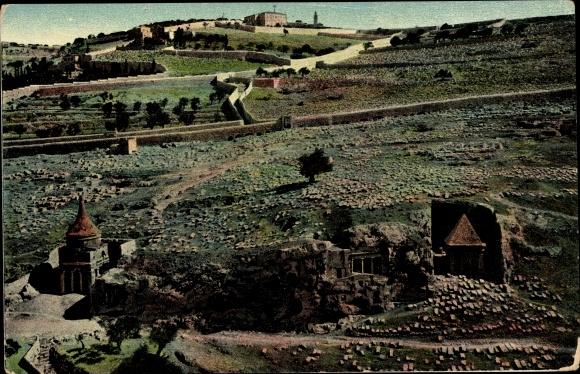 Ak Jerusalem Israel, Gräber im Josaphattal, Landschaftsmotiv 0