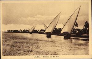 Ak Cairo Kairo Ägypten, Fellokas on the Nile, Segelboote auf dem Nil