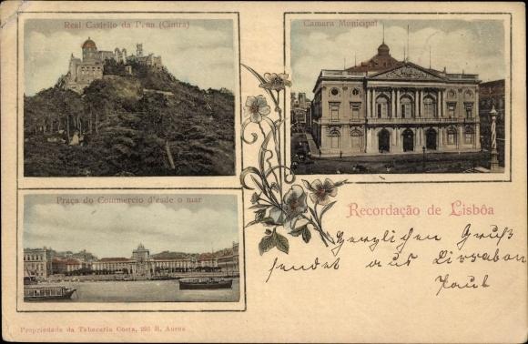 Ak Lisboa Lissabon Portugal, Real Castello da Pena, Cintra, Camara Municipal, Praca do Commercio