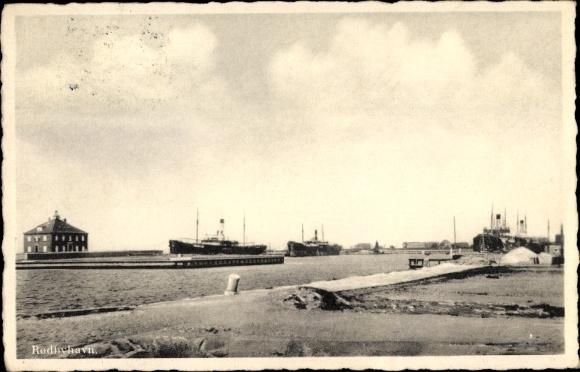 Ak Rødby Lolland Dänemark, Rodbyhavn, Hafen mit Dampfern