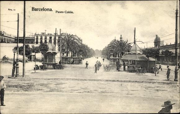 Ak Barcelona Katalonien, Paseo Colón, Straßenpartie in der Stadt