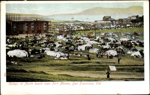 Ak San Francisco Kalifornien USA, Camps at North Beach near Fort Mason, Zeltlager 0