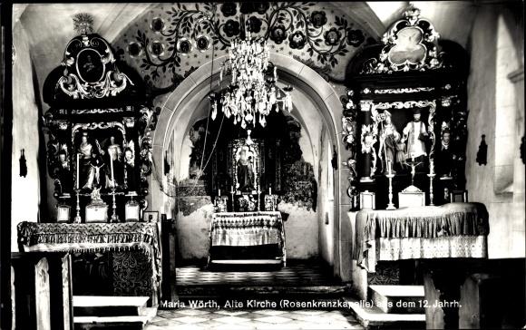 Ak Maria Wörth in Kärnten, Alte Kirche, Rosenkranzkapelle, Innenansicht