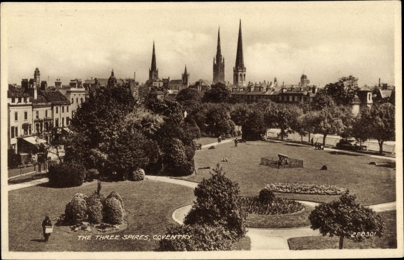 Ak Coventry West Midlands England, The Three Spires, Park, Victoria Temperance Hotel