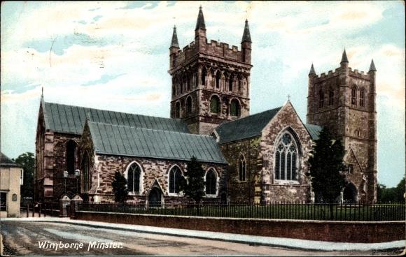 Ak Wimborne Minster Dorset England, The Minster, Ansicht der Kirche