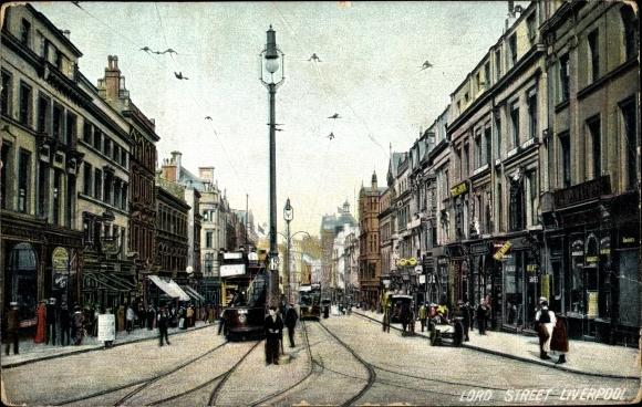 Ak Liverpool Merseyside England, Lord Street, Tram, Shops, Straßenpartie in der Stadt