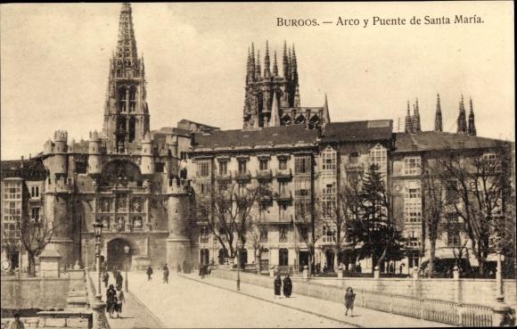 Ak Burgos Kastilien und León, Arco y Puente de Santa María