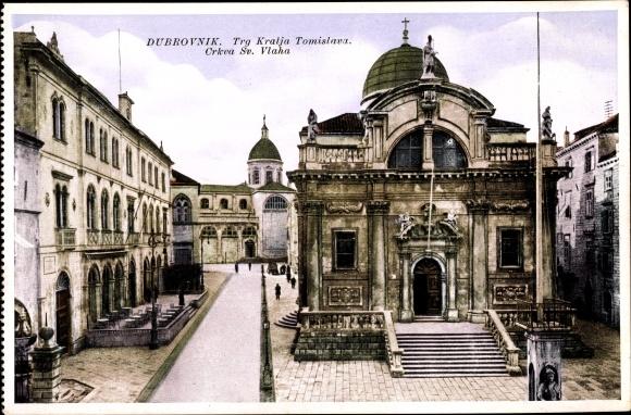 Ak Dubrovnik Kroatien, Trg Kralja Tomislava, Crkva Sv. Vlaha